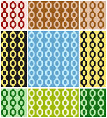 Vector set of of bright abstract seamless patterns with chains in different colors. Eps 10. — Stock Vector