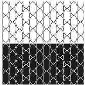 Set of abstract black and white seamless patterns of contours links of chain. Vector eps 10. — Stock Vector