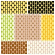 Set of abstract colorful seamless pattern of oval links in warm colors. Vector eps 10. — Stock Vector #69801151