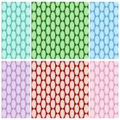 Set of abstract colorful seamless pattern of oval links in cold colors. Vector eps 10. — Stock Vector