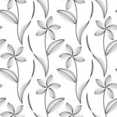 Vector seamless pattern with abstract flowers of the lines on a white background. — ストックベクタ