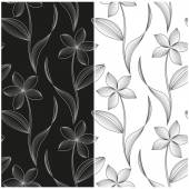 Vector set of seamless patterns with abstract flowers of the lines in white, black and grayscale. — Cтоковый вектор