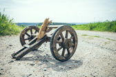 Handcart on a dirt road — Stock Photo
