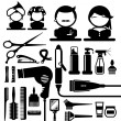 Hair styling silhouette icons set — Stock Vector #55458621