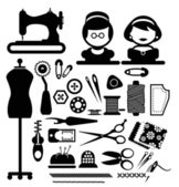 Sewing icons vector — Stock Vector
