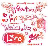 Love & Hearts Doodles Design Elements — Vettoriale Stock
