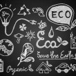Set of chalk hand drawing eco on blackboard — Stock Vector #60438833