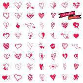 54 Heart set, doodle vector — Διανυσματικό Αρχείο