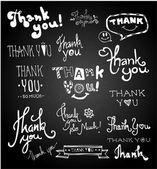 Set of chalk hand drawing THANK YOU on blackboard. vector — Stockvektor