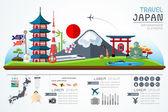 Info graphics travel and landmark japan template design. Concept Vector Illustration — Stock Vector