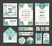 Wedding floral template collection.Wedding invitation, — Stock Vector