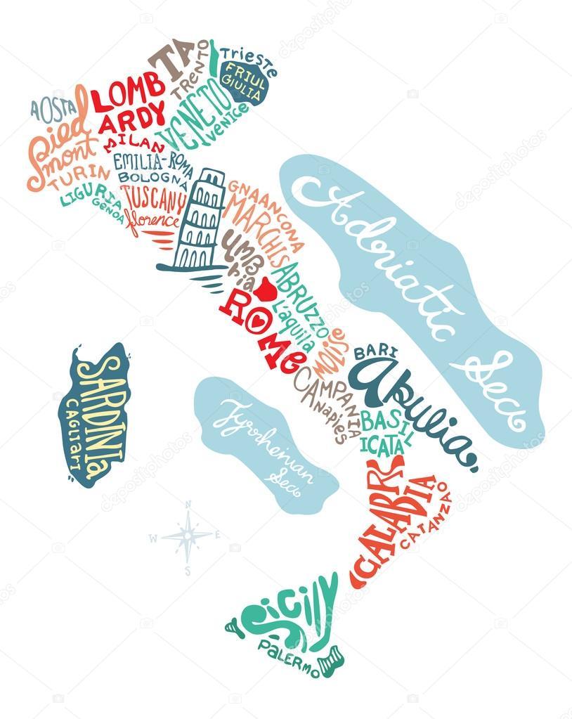 意大利手绘地图矢量插画,涂鸦矢量图