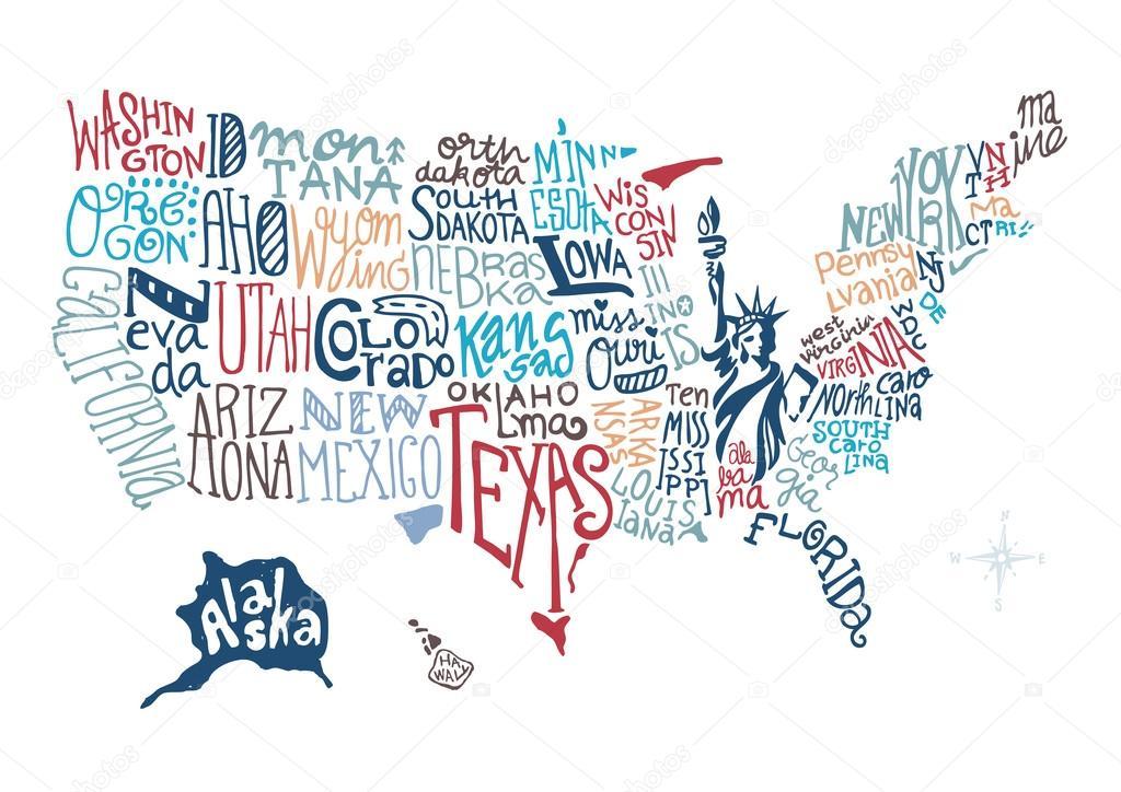 美国手绘地图矢量插画