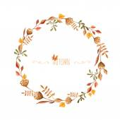 Watercolor autumn frame. Wreath made of hand drawn  autumn leave — Stock Vector