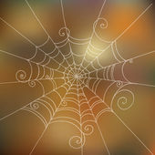 Spider Web hand-drawn on abstract blur unfocused background. Can — Stock Vector