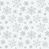 Snowflakes. Cute seamless pattern of snowflakes hand-drawn. Chri — Stock Vector