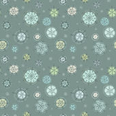 Snowflakes. Cute seamless pattern of snowflakes hand-drawn. Retr — Stock Vector