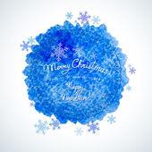 Mancha de acuarela con inscripción Navidad y feliz año nuevo. A — Vector de stock