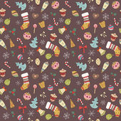 Cute Seamless Christmas pattern. Holiday colorful background — 图库矢量图片