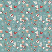 Cute Seamless Christmas pattern. Holiday retro background — Stock Vector