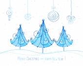 Watercolor christmas trees.  Cute greeting card hand drawn — Cтоковый вектор