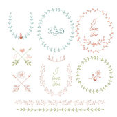 Cute frames hand drawn. Romantic floral design elements — Stock Vector