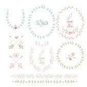 Cute frames hand drawn. Romantic floral design elements  — Stockvektor