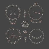 Cute frames hand drawn. Romantic floral design elements  — Stock Vector