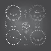 Cute frames hand drawn. Romantic floral design elements on a bla — Stockvektor