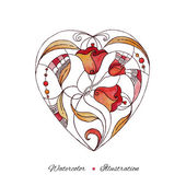 Watercolor heart hand drawn. Abstract illustration. Love backgro — Vecteur
