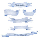 Watercolor ribbons set. Hand drawn stripes or banners for text. — Stock Vector