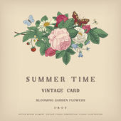 Summer vector vintage card — Stock Vector