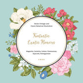 Wreath with exotic flowers. — Stock Vector