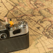 Man and woman sitting in old camera — Stock Photo #78657570