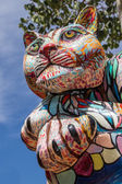 FLAGSTAFF, ARIZONA,USA, AUGUST 11, 2014: Sculpture of a colorfull cat in the centre of Flagstaff Ariozona by Dion Wright — Stock Photo