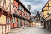 AARHUS, DENMARK - APRIL 12, 2015: Medieval houses the streets of — Stock Photo