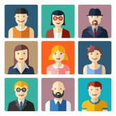Flat avatar icons, faces, people icons — Stock vektor