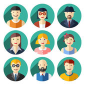 Flat round avatar icons, faces, people icons — Stock vektor