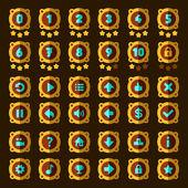Steam punk flat game buttons set — Stock Vector