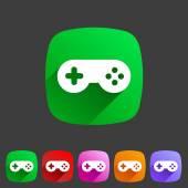 Game joystick flst icon badge — Stock Vector