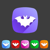 Bat flat halloween icon badge — Stock Vector