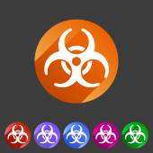 Biohazard flat icon badge — Stock Vector