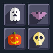 Halloween flat icons badges set — Stock Vector