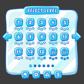 Level selection game menu ice style — Vettoriale Stock