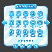 Level selection game menu ice style — Stock Vector