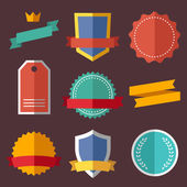 Vintage, retro flat badges, labels — Stock Vector