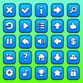 Conjunto de botões quadrados azul jogo — Vetor de Stock