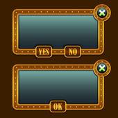 Spel steampunk menu interface panelen — Stockvector
