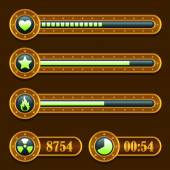 Game steampunk energy time progress bar icons set — Stockvector
