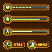Game steampunk energy time progress bar icons set — Vector de stock
